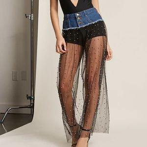 Denim & Sheer Maxi Skirt w/ beads, size small
